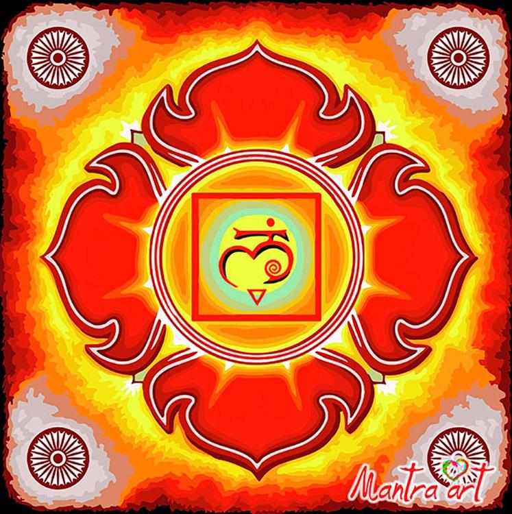 Картина по номерам «Чакра Муладхара» + в наборе подарок