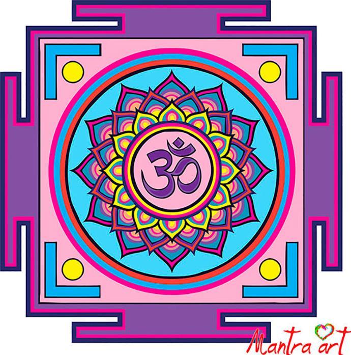 Купить Картина по номерам «Мандала Ом» + в наборе подарок, Mantra Art