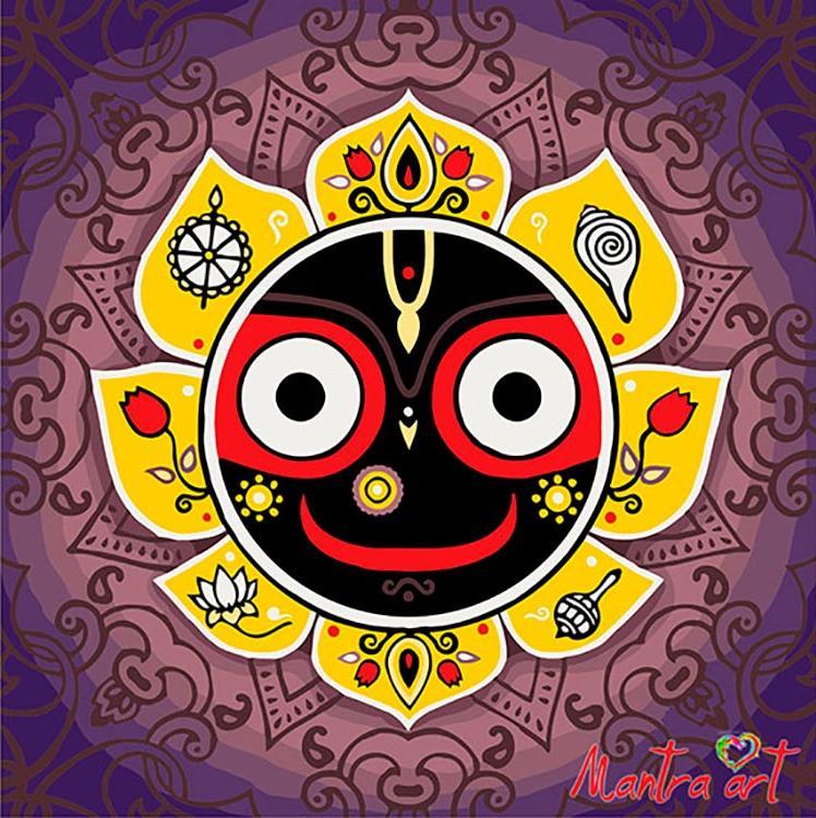 Купить Картина по номерам «Джаганнатха» + в наборе подарок, Mantra Art