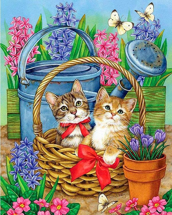 Алмазная вышивка «Котята в корзине с красным бантом» Джейн Мэдей