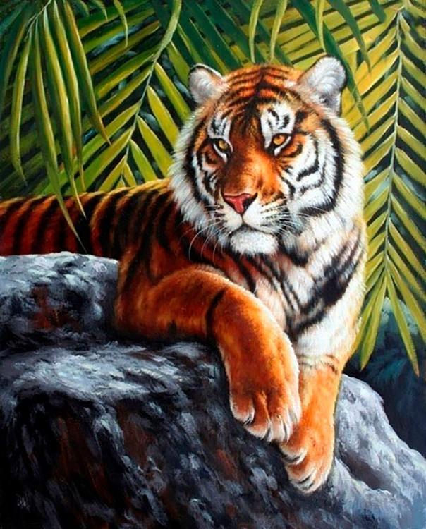 Алмазная вышивка «Тигр на скале»