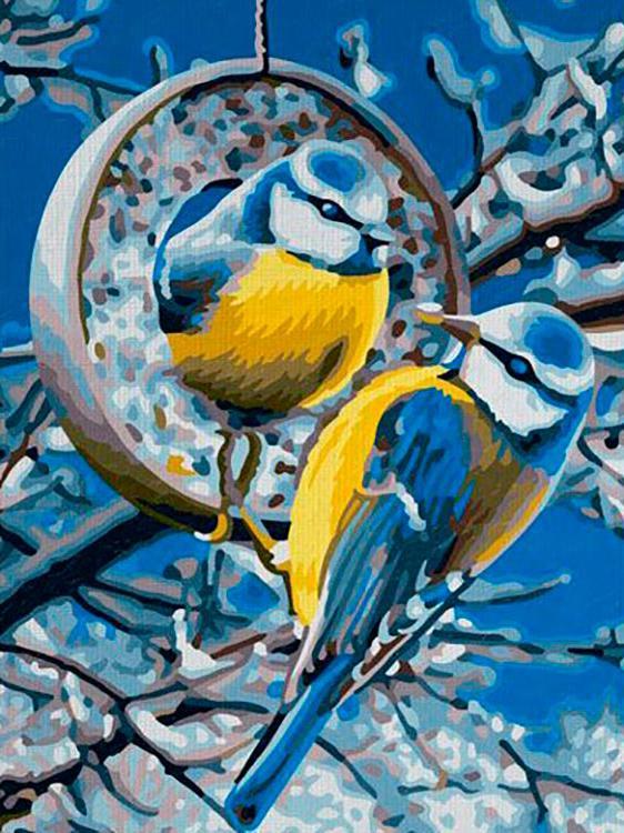 Алмазная вышивка «Синички зимой»