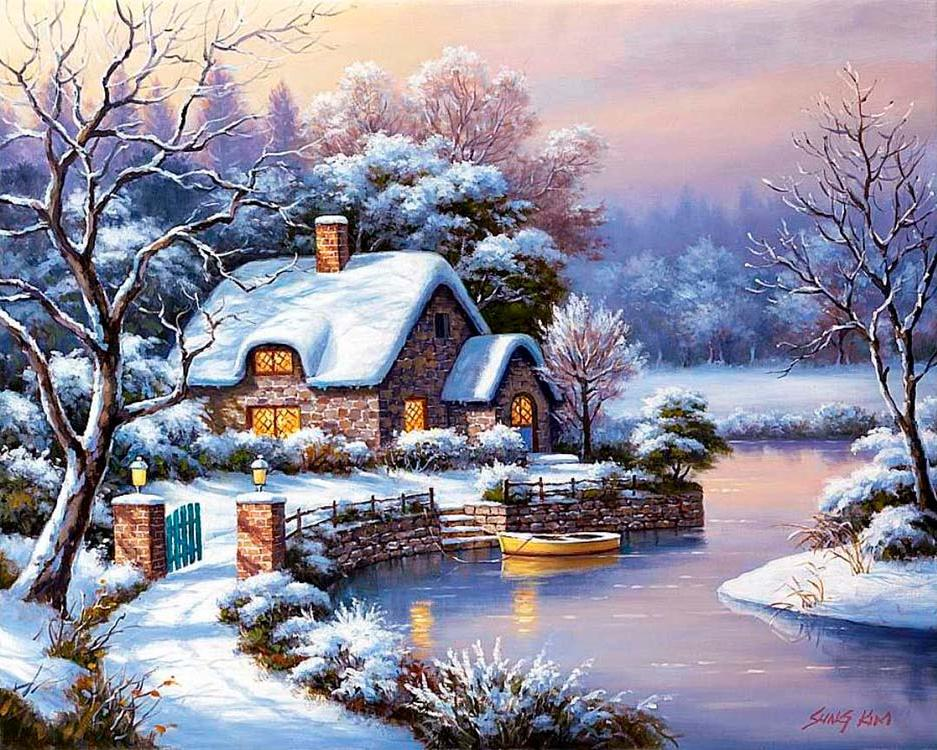 Алмазная вышивка «Уютный домик» Сен Кима