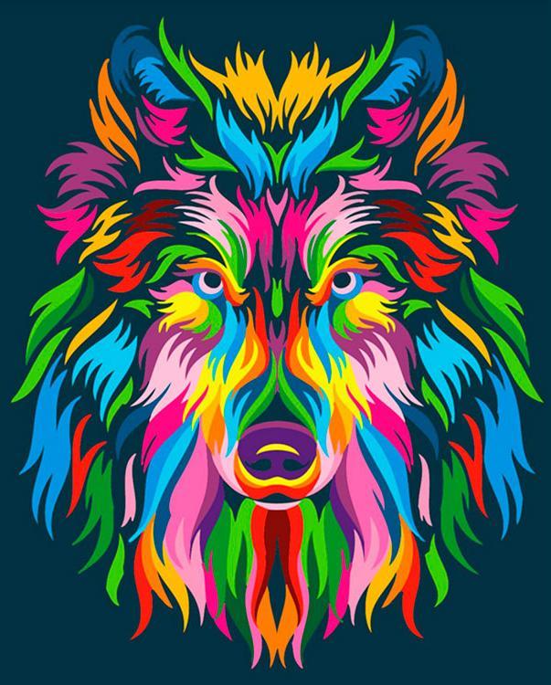 Купить Картина по номерам «Радужный волк», Paintboy (Premium), Китай, GX23828
