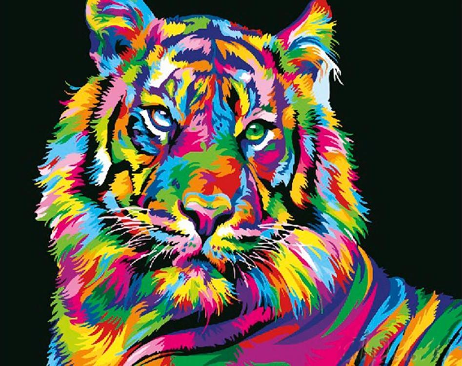 Купить Картина по номерам «Радужный тигр», Paintboy (Premium), Китай, GX26176