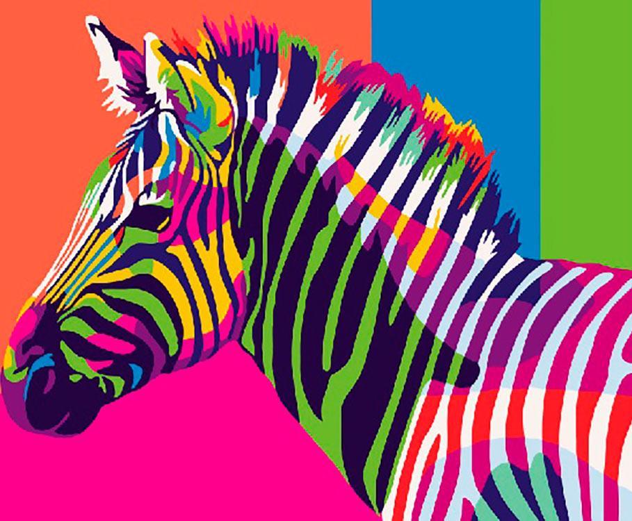 Купить Картина по номерам «Радужная зебра» Ваю Ромдони, Paintboy (Premium), Китай