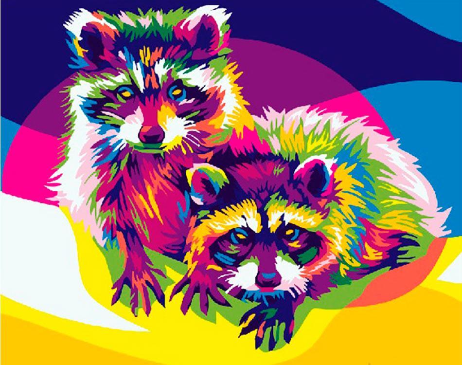 Купить Картина по номерам «Любопытные еноты» Ваю Ромдони, Paintboy (Premium), Китай