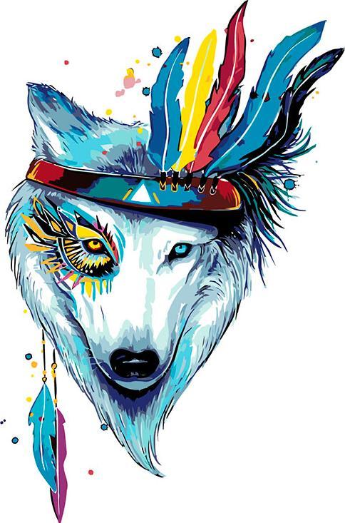 Картина по номерам «Пёс-индеец»