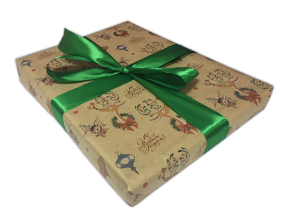 Подарочная упаковка «Праздничные олени»