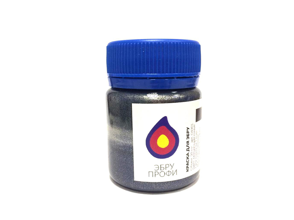 Краска для эбру мерцающий графит (металлик) 30 мл, Эбру-Профи