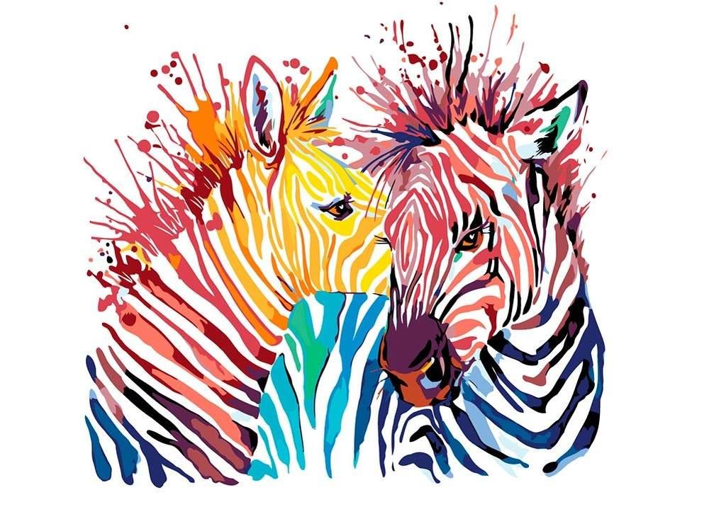 Картина по номерам «Акварельные зебры»