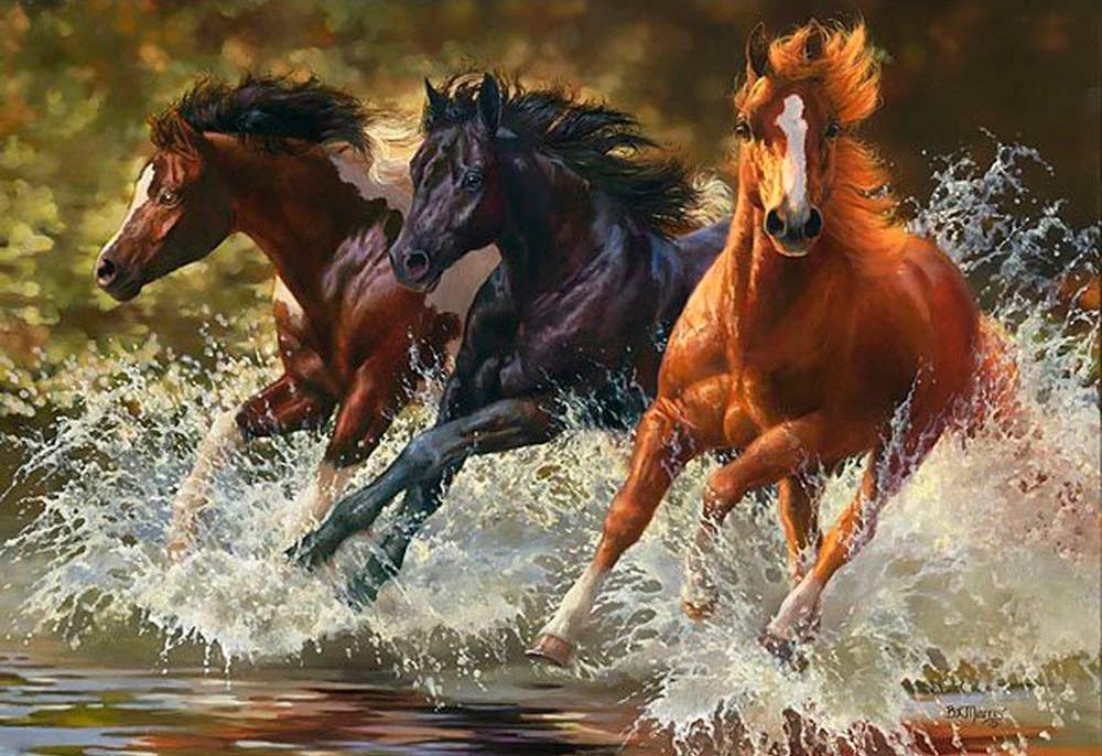 Алмазная вышивка «Лошади, бегущие по воде» Бонни Маррис
