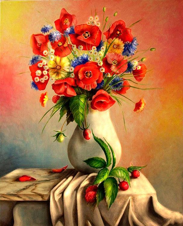 Алмазная вышивка «Маки и полевые цветы» Demiart