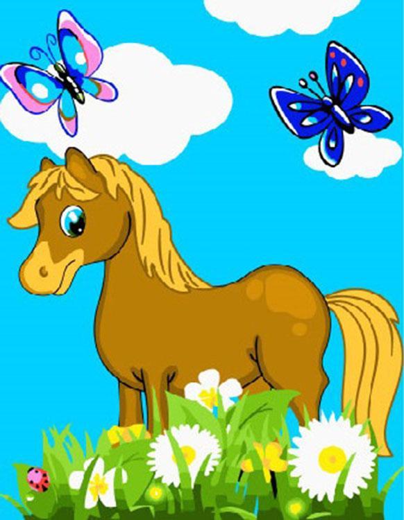 Купить Картина по номерам «Лошадка в цветах», Paintboy (Premium)