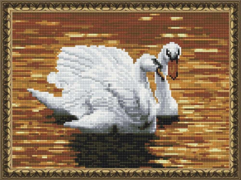 Алмазная вышивка «Лебеди на пруду»