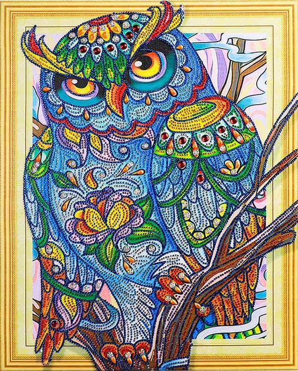 Алмазная вышивка 5D «Мудрая сова»