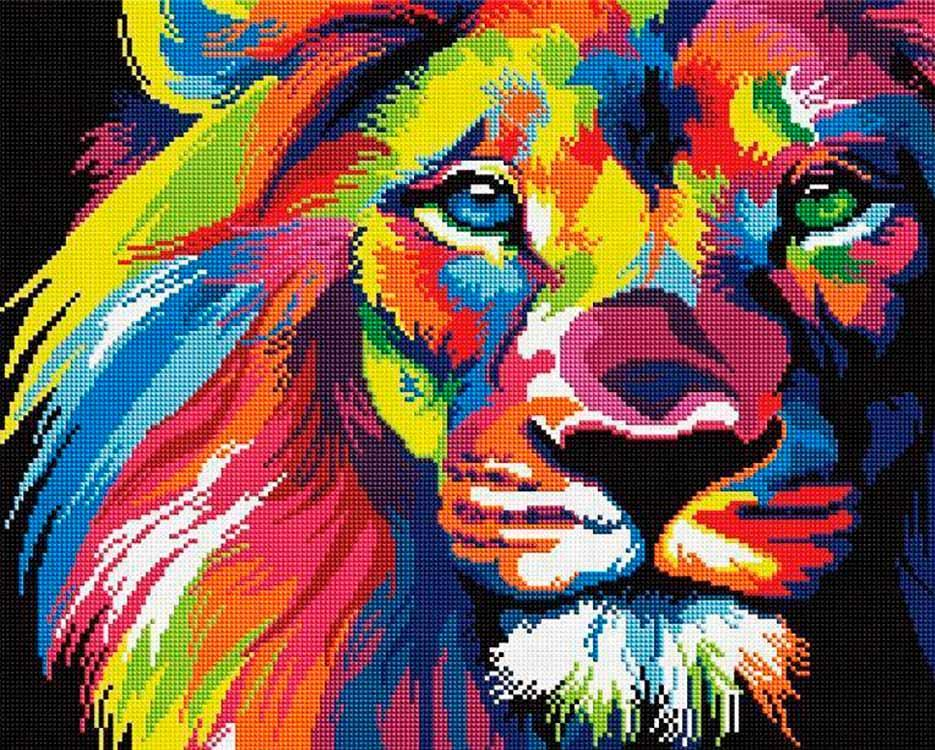 Алмазная вышивка «Радужный лев» Ваю Ромдони