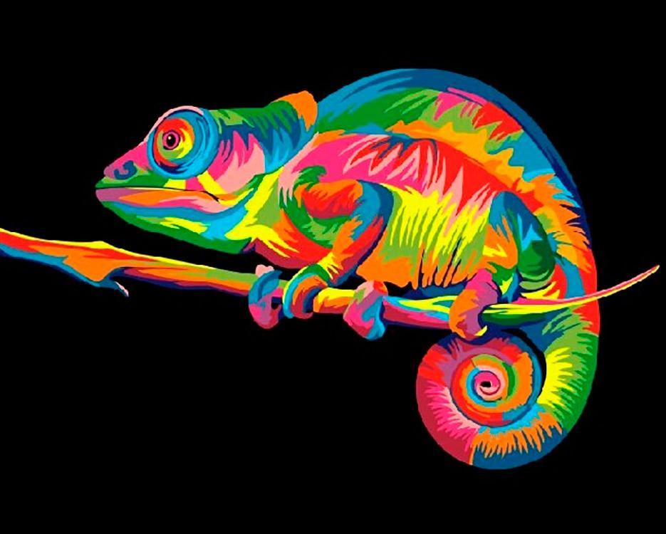 Купить Картина по номерам «Радужный хамелеон» Ваю Ромдони, Paintboy (Premium), Китай