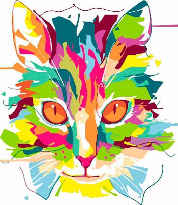 Купить Картина по номерам «Радужный кот», Paintboy (Premium), Китай, GX26725/PK18097