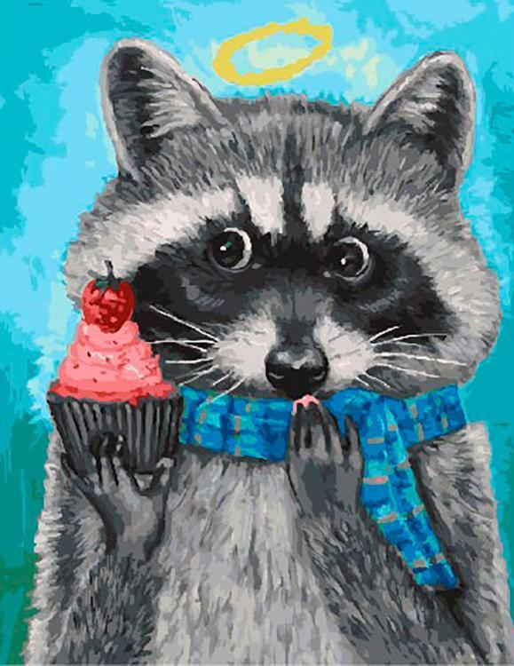 Картина по номерам «Енот в шарфе» Джой Кэмпбелл, «Енот в шарфе»
