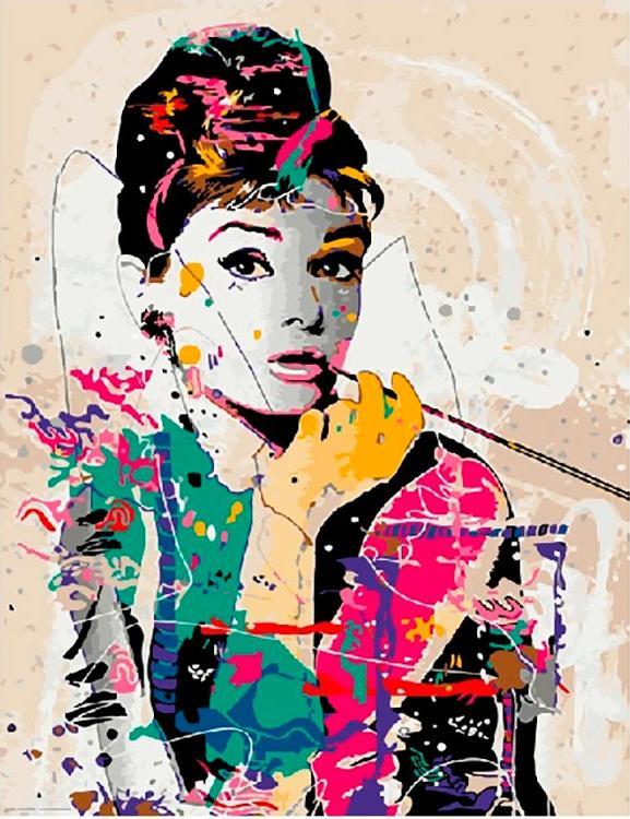 Купить Картина по номерам «Одри Хепберн», Paintboy (Premium), Китай
