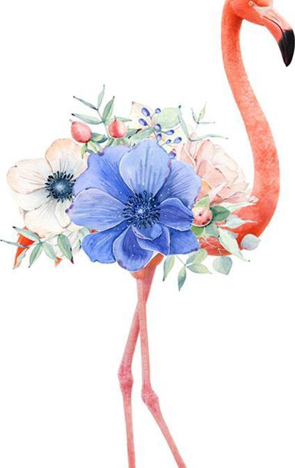 Алмазная вышивка «Фламинго и синий цветок»