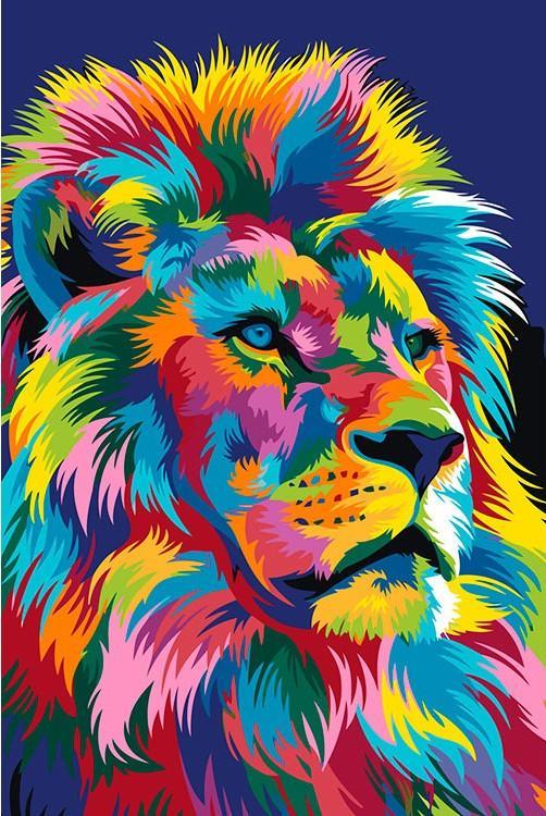 Купить Картина по номерам «Королевский радужный лев» Ваю Ромдони, Живопись по Номерам, Китай