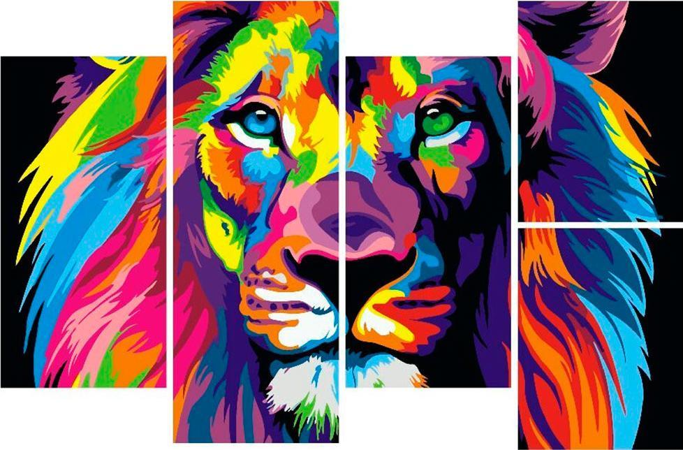 Купить Картина по номерам «Радужный лев» Ваю Ромдони, Paintboy (Premium), Китай