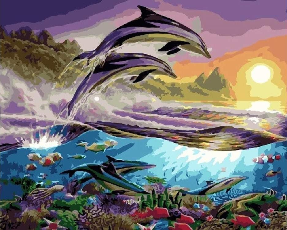 Картина по номерам «Дельфины»
