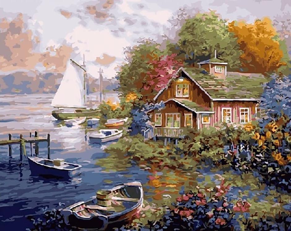 Картина по номерам «Домик у причала»