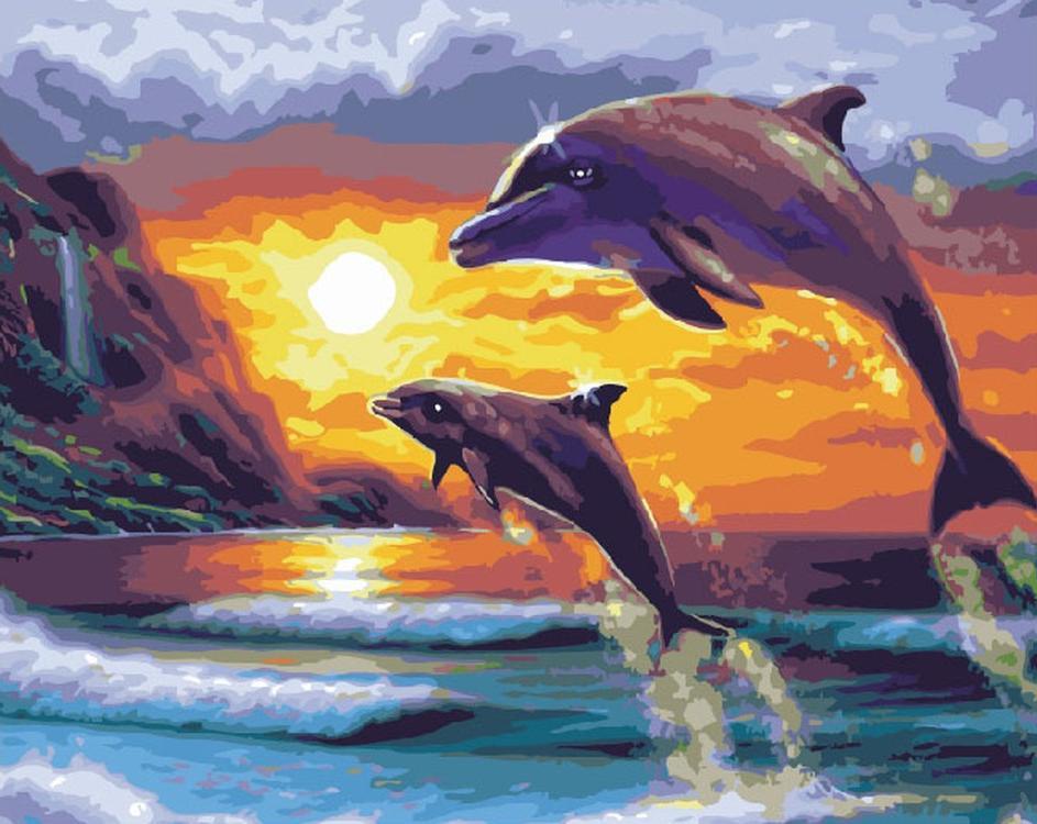 Картина по номерам «Прыжок дельфинов»