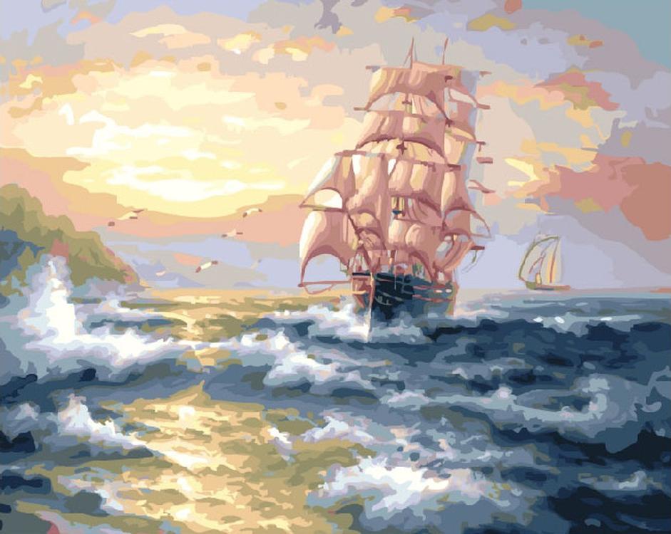 Картина по номерам «Корабль на волнах» Сергея Минаева