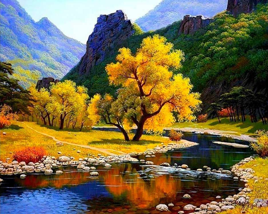 Картина по номерам «Осенняя река в горах» Ли Чхун Сон