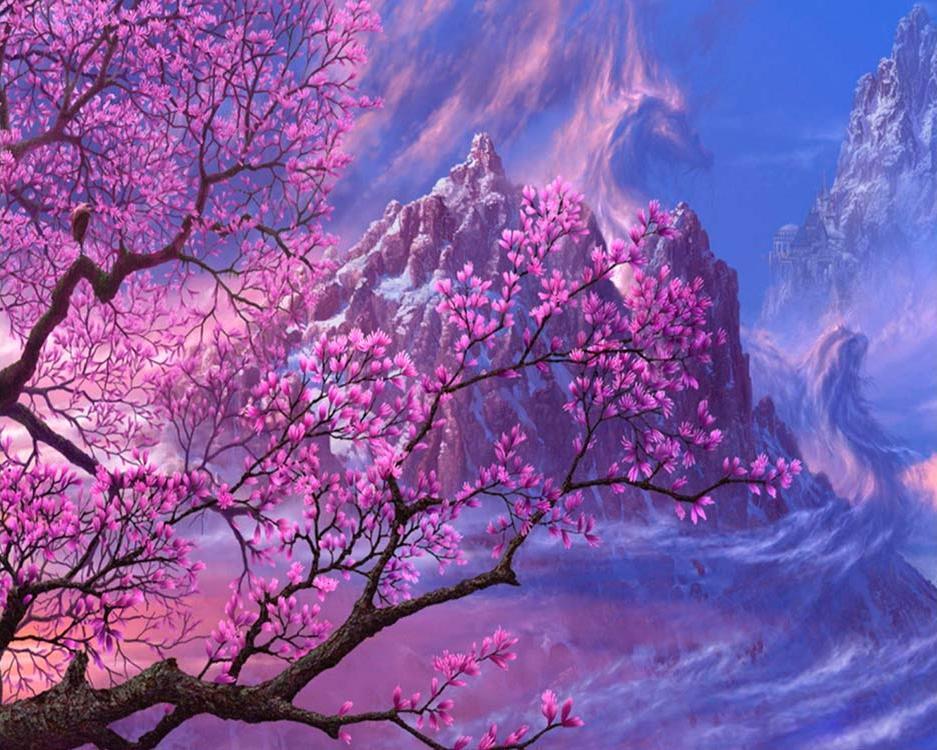 Картина по номерам «Цвет сакуры в горах»