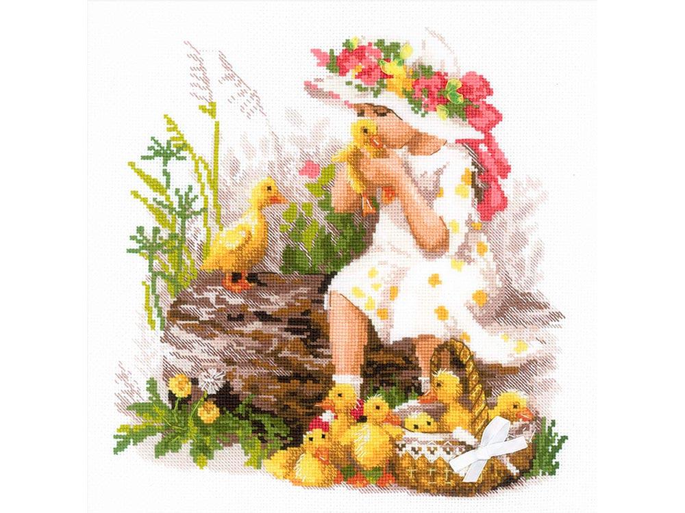 Купить Вышивка крестом, Набор для вышивания «Девочка с утятами», Риолис (Сотвори Сама), 30x30 см, 1781