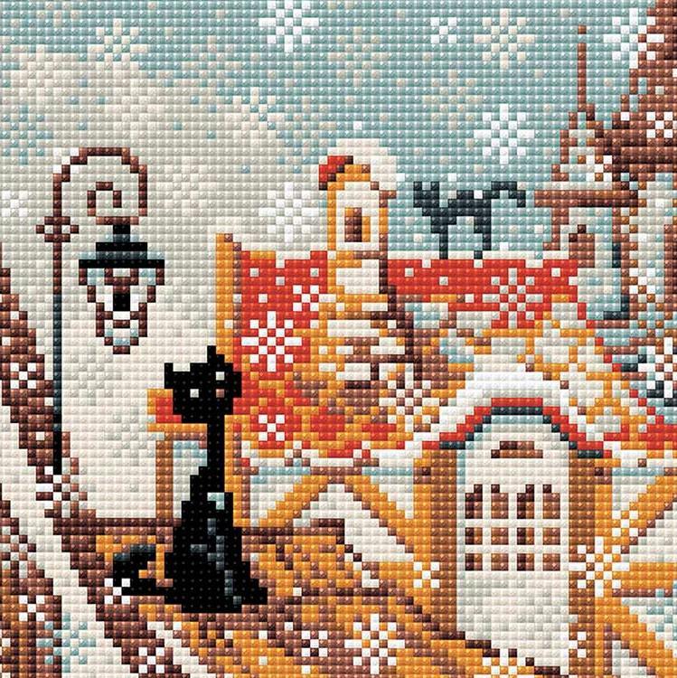 Алмазная вышивка «Город и кошки. Зима»