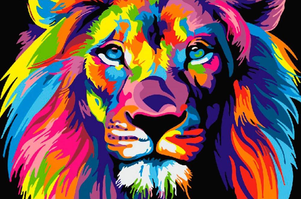 Купить Картина по номерам «Радужный лев» Ваю Ромдони, Paintboy (Premium)