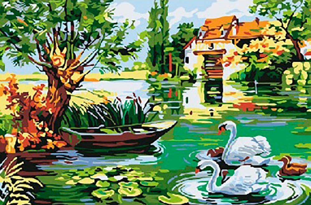 Картина по номерам «Мельница и лебеди»