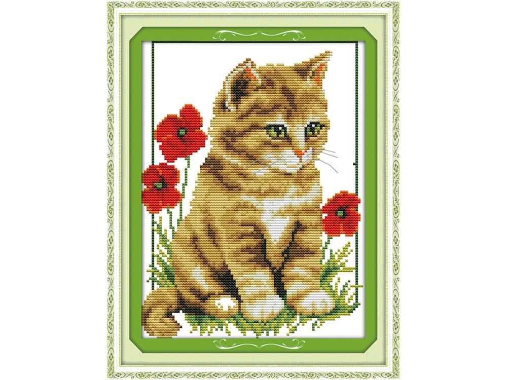 Купить Вышивка крестом, Набор для вышивания «Кот и маки», NKF