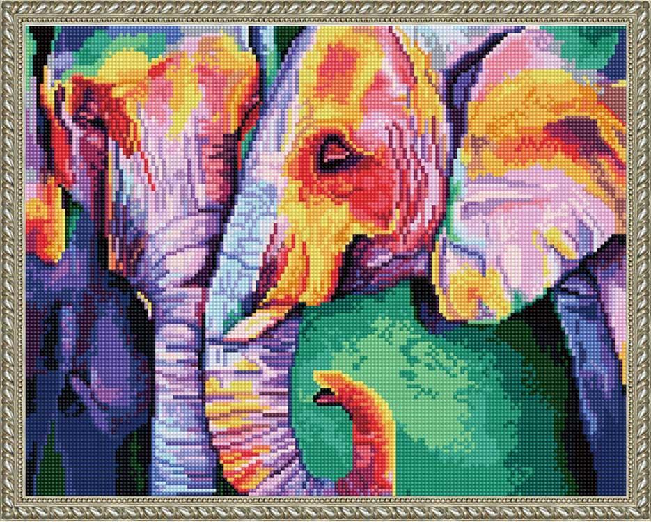 Алмазная вышивка «Радужные слоны» Синклера Стрэттона