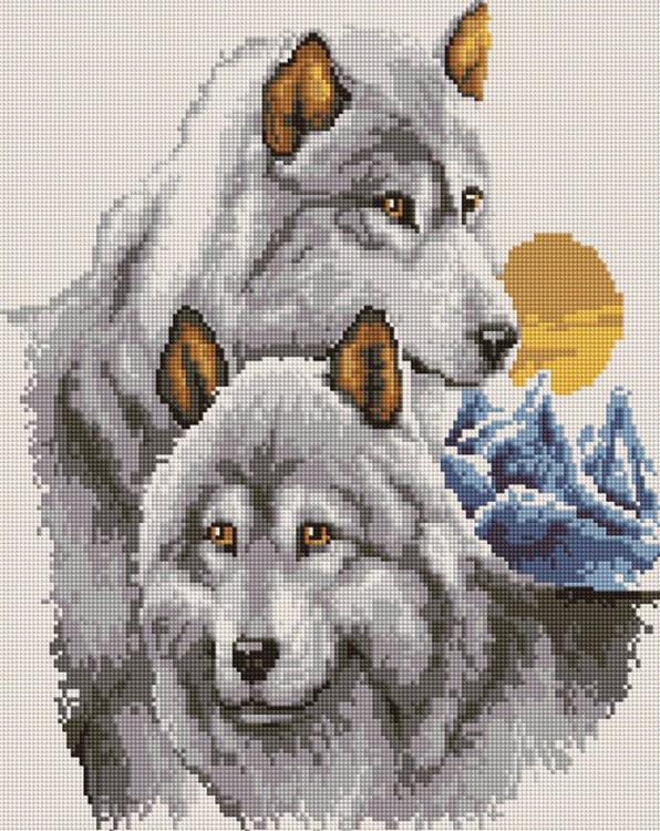 Алмазная вышивка «Волчья пара»
