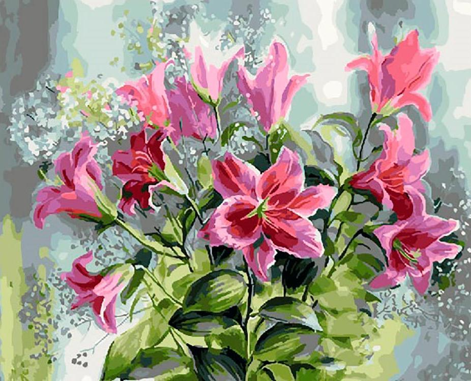 Купить Картина по номерам «Розовые лилии» Луиса Астона Найта, ВанГогВоМне