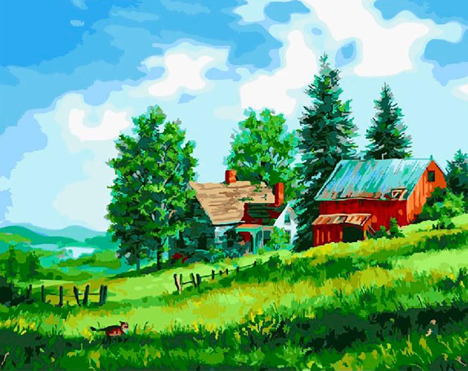Картина по номерам «Домик в деревне» Фреда Свона