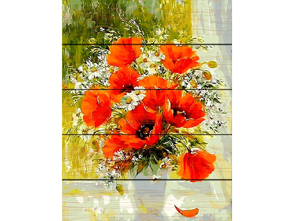 Купить Картина по номерам по дереву Paintboy «Букет на окне», Paintboy (Premium)