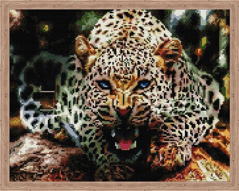 Алмазная вышивка «Рычащий леопард»