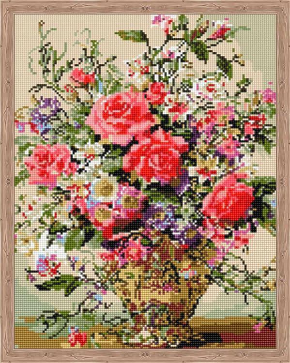 Алмазная вышивка «Розы в шикарной вазе» Альберта Уильямса