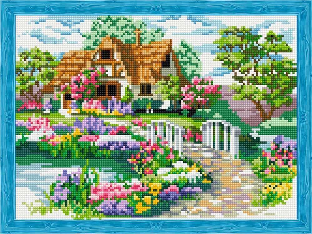 Купить Алмазная вышивка «Мостик к дому», Цветной