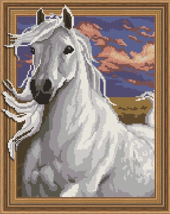 Алмазная вышивка 5D «Белая лошадь»
