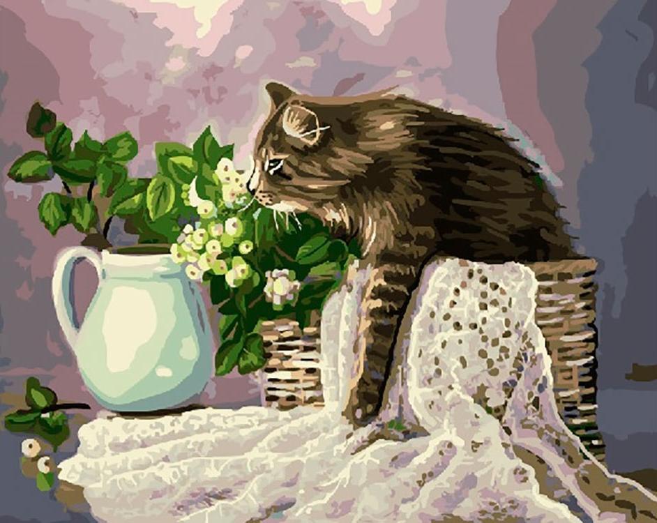 Купить Картина по номерам «Кошка в лукошке» Жанны Когай, ВанГогВоМне