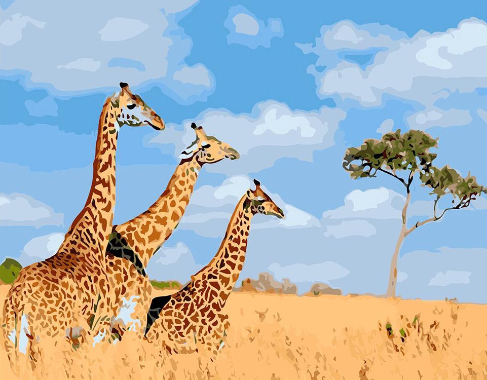 Купить Картина по номерам «Три жирафа», ВанГогВоМне